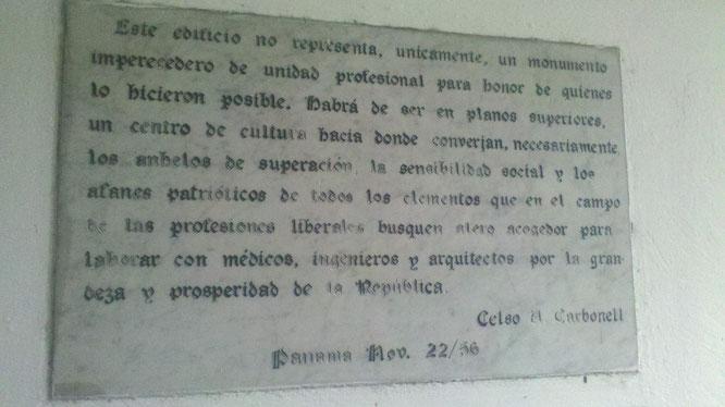 Placa conmemorativa del Ateneo de Ciencias y Artes (1956).