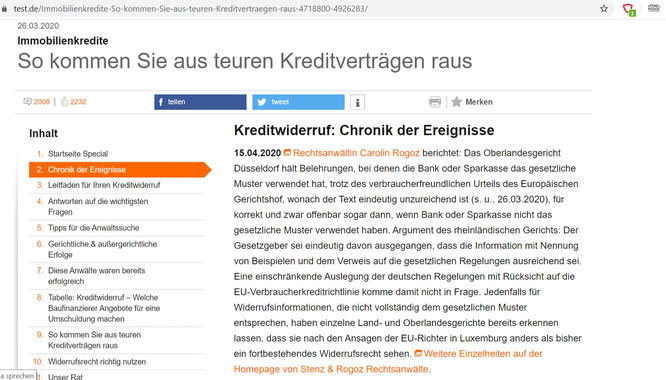 Auch am 15.04.2020 wird die Kanzlei Stenz & Rogoz von Stiftung Warentest erwähnt.