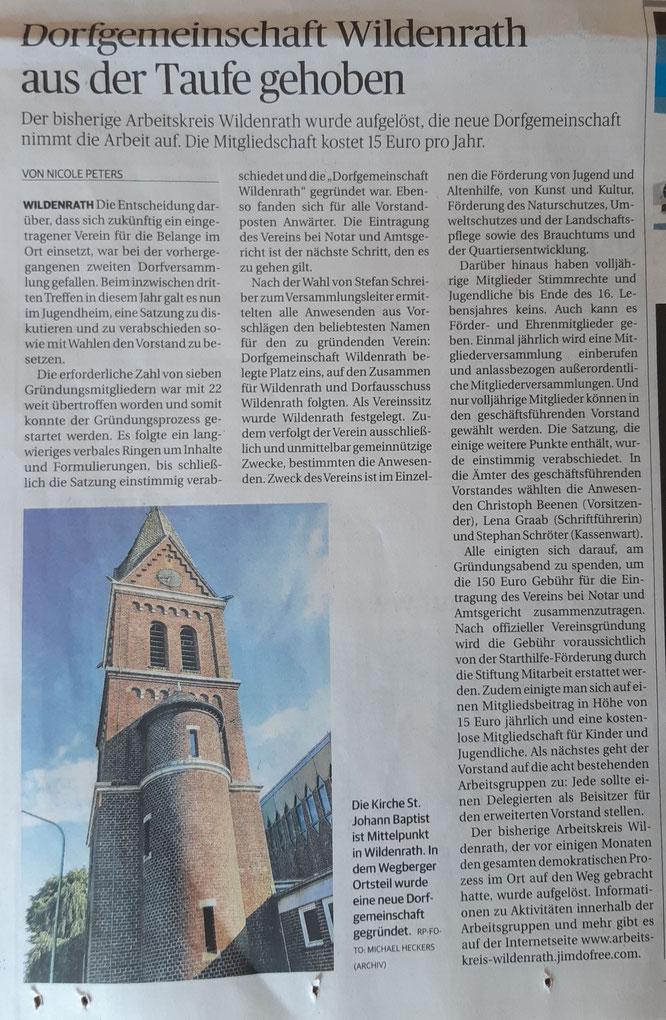 Dorfgemeinschaft Wildenrath Rheinische Post