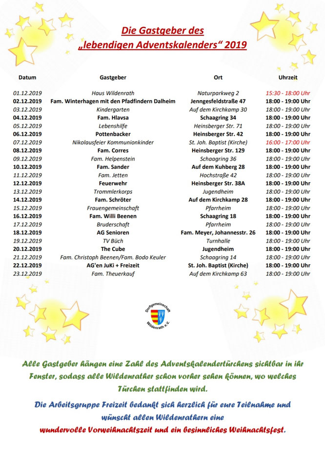 Lebendiger Adventskalender Wildenrath 2019