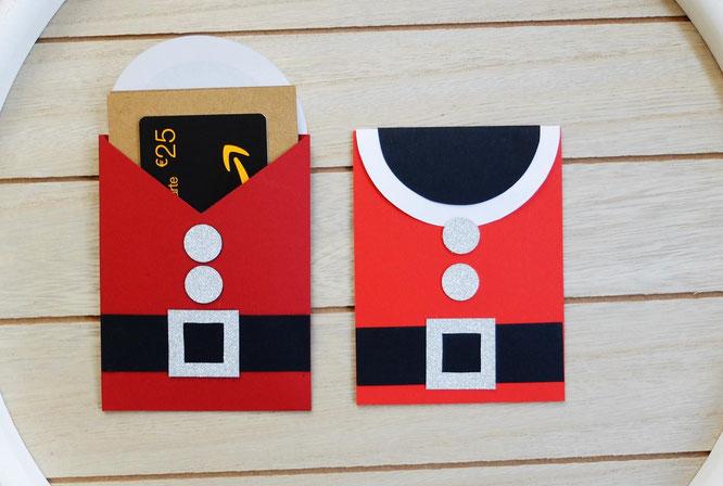 DIY Weihnachtskarten selber basteln Tutorial Anleitung - Weihnachtsmann Kostüm