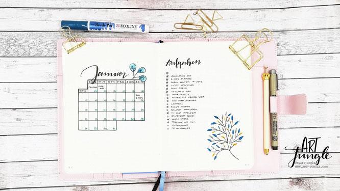Bullet Journal Januar Setup Monthlyspread Monatsübersicht Monat
