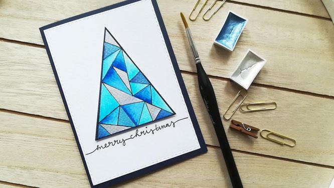 DIY Weihnachtskarten selber basteln Tutorial Anleitung - Weihnachtsbaum geometrisch