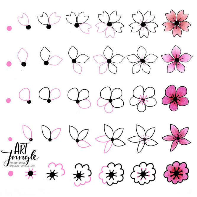 how to draw cherry blossoms - kirschblüten malen