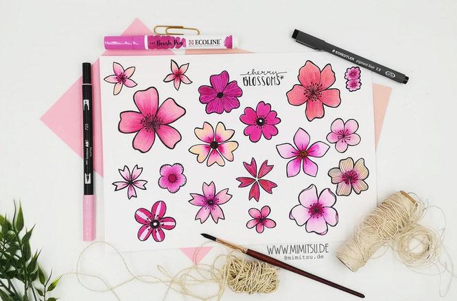 Cherry Blossom - Sakura - Kirschblüten Doodle Illustration - Malvorlage - Sketchnotes