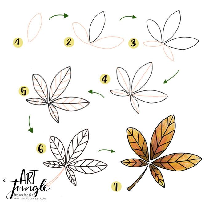 Schritt-für-Schritt-Anleitung-Herbstblatt Doodle How to draw leaf fall