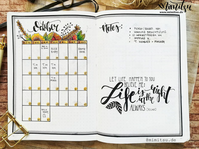Oktober Monthly , Oktober Monthlyspread, Monatsübersicht Bullet Journal, Bujo Monthy