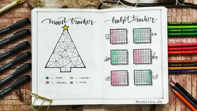 Weihnachten Bullet Journal Dezember Mood tracker christmastree