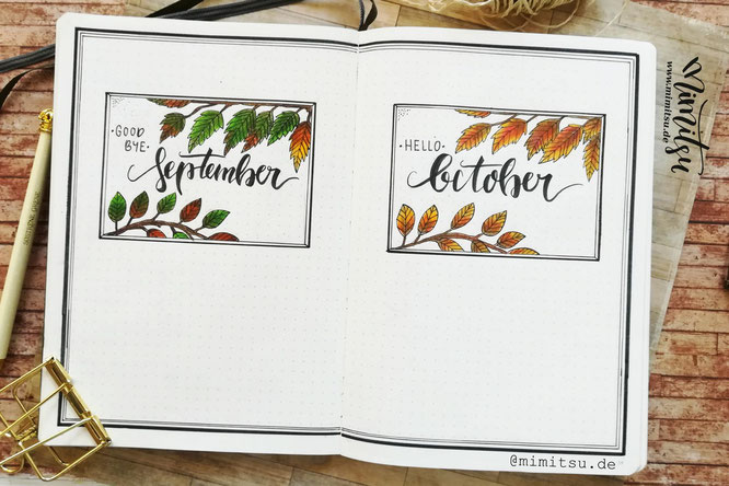 Oktober  Bujo Bullet Journal Herbst Autum Cover Hello October