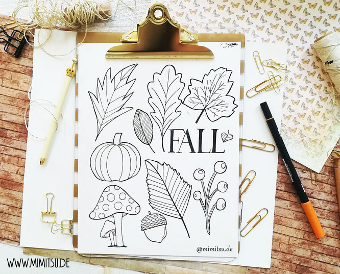 Bullet Journal Herbst Fall Doodles step by step tutorial