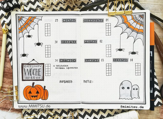 Oktober Weekly Wochenübersicht Bujo Bullet Journal October Weeklyspread