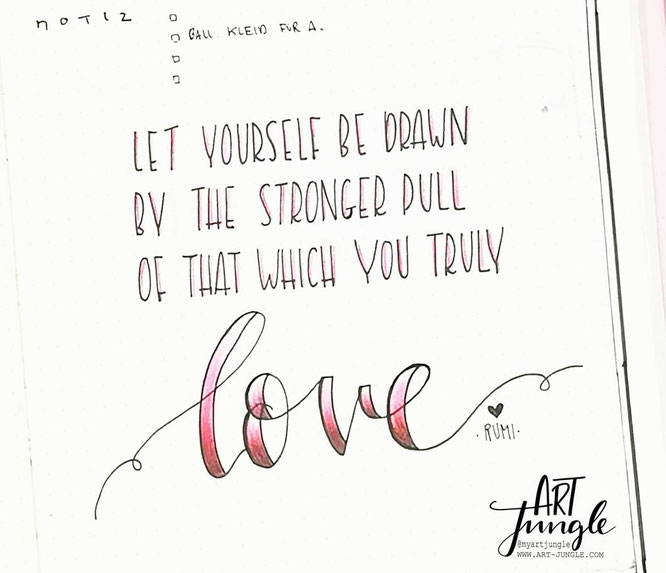 Bullet Journal Weekly February Quote Love