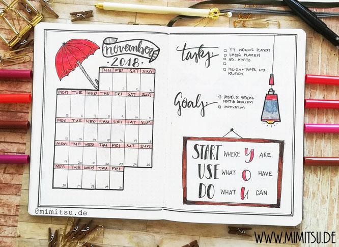Bullet Journal November Setup Monthlyspread Monatsübersicht Monat
