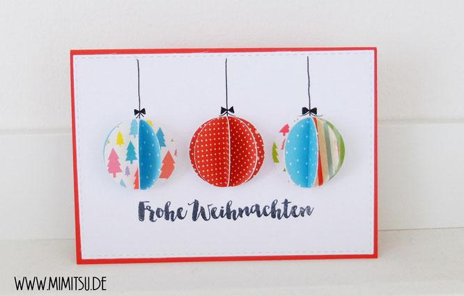 DIY Weihnachtskarte Weihnachtskugel Christmascard