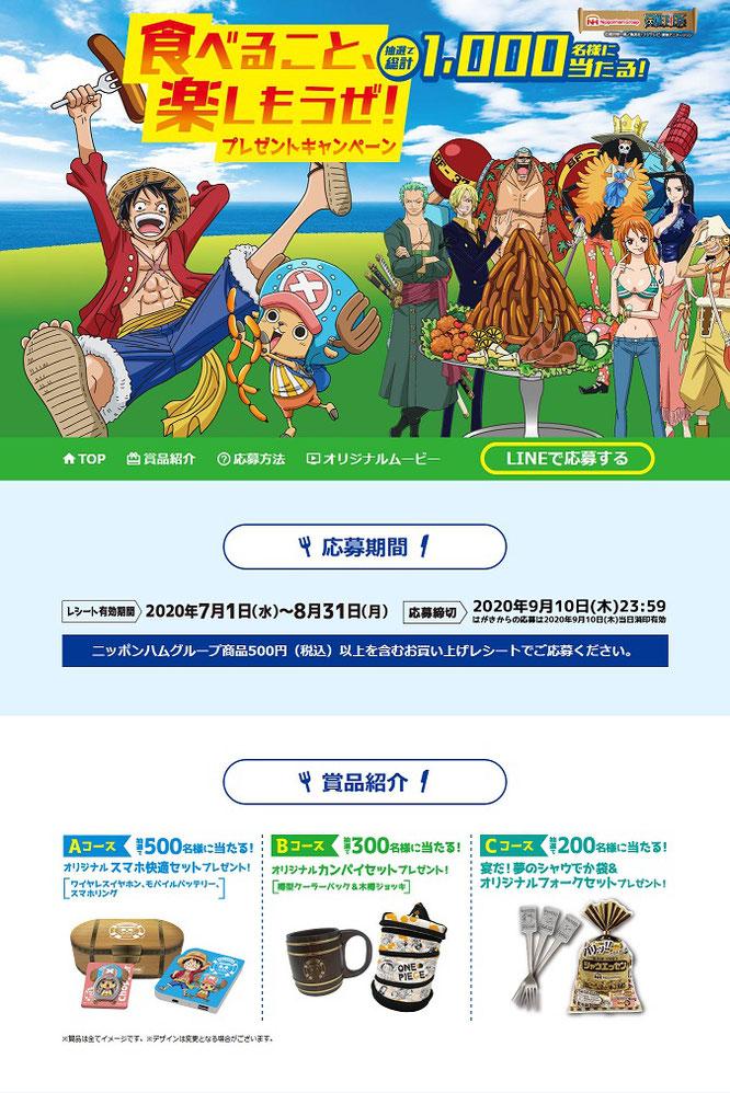 【ニッポンハム】ワンピース 食べること、楽しもうぜ!プレゼントキャンペーン