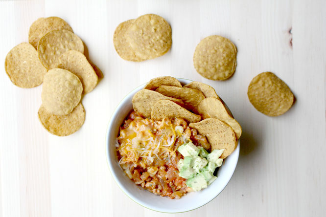 "Amazing recipe for healthy turkey taco meat served as ""upside down nachos"" with sweet potato chips - by homemade nutrition - www.homemadenutrition.com"