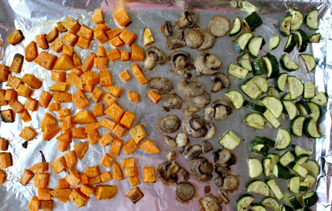 homemade roasted sweet potato, mushroom, and zucchini for barley salad - homemade nutrition - www.homemadenutrition.com