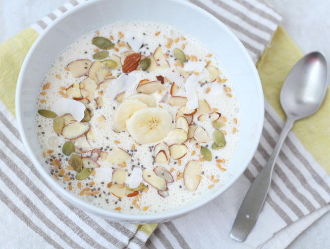 This vanilla almond smoothie bowl with coconut, banana, and chia seeds  is one sweet (and healthy) way to start the day!