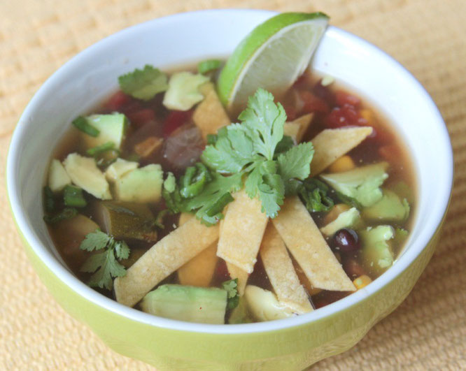 homemade vegan slow cooker tortilla soup.  So light and healthy!