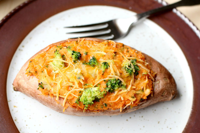 Twice baked broccoli and cheese sweet potato - perfect flavorful meatless meal or side dish! - by homemade nutrition