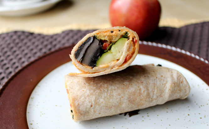 Homemade Roasted Vegetable Wrap combines beautiful flavors to create a delicous, satisfying vegetarian or vegan meal.   - by homemade nutrition - www.homemadenutrition.com