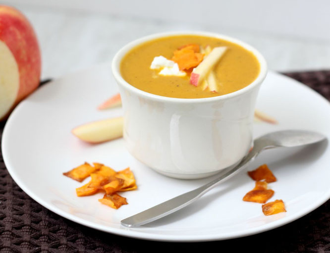 Nothing says fall like this easy vegan soup with sweet potato, curry, and apple! It's also a great make-ahead meal for the freezer so you'll have a healthy homemade lunch or dinner on-hand anytime you want!