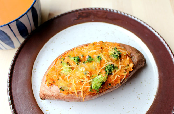 Vegetarian broccoli cheese twiced baked sweet potatoes.  Healthy and affordable fast food at it's finest! - by homemade nutrition