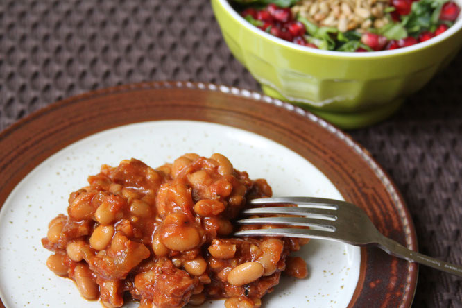 slow cooker baked beans and ham.  Healthy homemade version of pork and beans