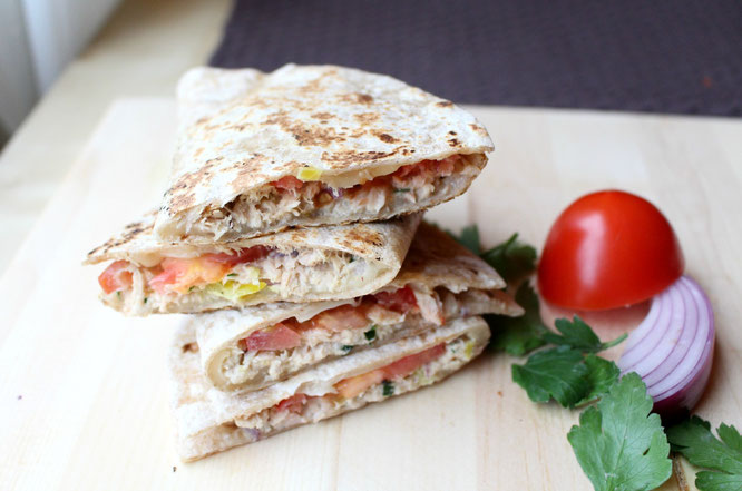Light and fast tuna melt quesadillas.  Great affordable healthy meal everyone will love!  Plus it takes under 20 minutes to make! -by homemade nutrition - www.homemadenutrition.com