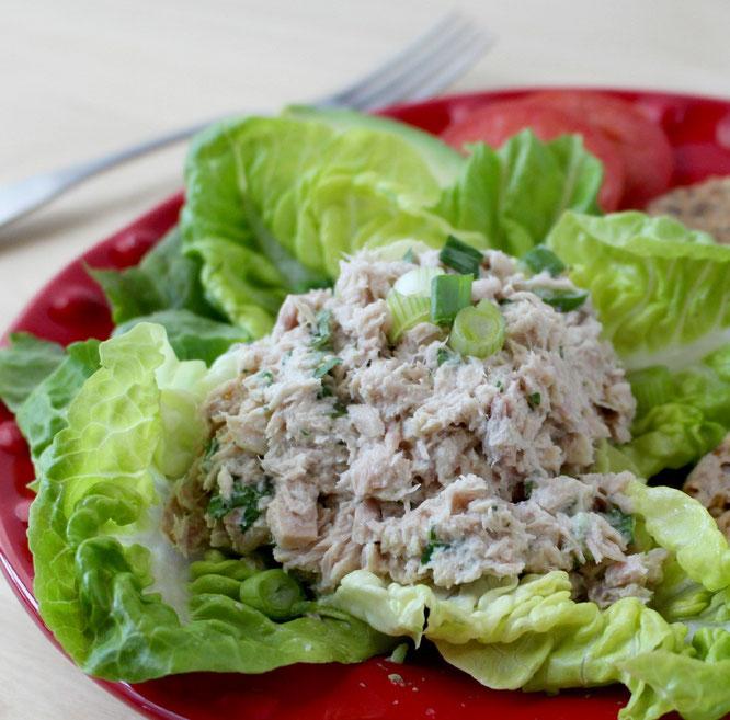 Healthy no mayo tuna salad homemade nutrition for Tuna fish salad calories