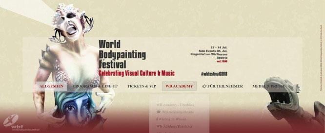 Ausschnitt der Webseite zum 21. World Bodypainting Festival vom 8. bis 14. Juli 2018 in Klagenfurt am Wörthersee.