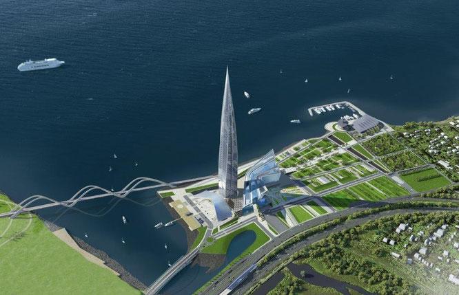 In St. Petersburg befindet sich mit dem Lakhta Center der zukünftig höchste Wolkenkratzer Europas im Bau. © www.proektvlahte.ru