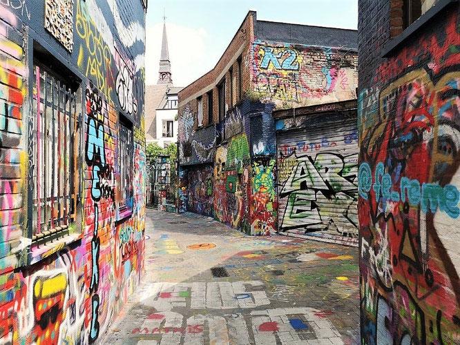 Werregarenstraat bzw. Graffitistraatje, Gent. © 2019 Reinhard A. Sudy