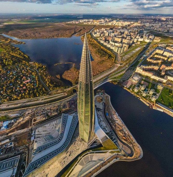 Das Lakhta Center in St. Petersburg, Russland, ist der Wolkenkratzer des Jahres 2019. © GORPROJECT