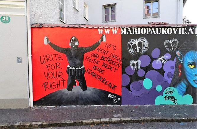 Wandmalerei von Mario Paukovic in der Feuerbachgasse, Graz. © 2019 Reinhard A. Sudy