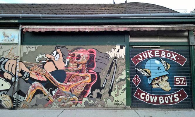Graffiti-Strecke am Naschmarkt Wien. LUGOSIS / NYCHOS / CB RIBELLE. © 2018 Reinhard A. Sudy