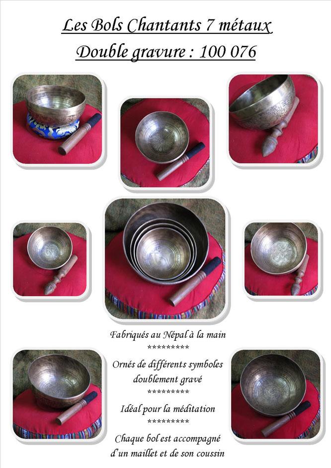 Les bols tibétains gravés