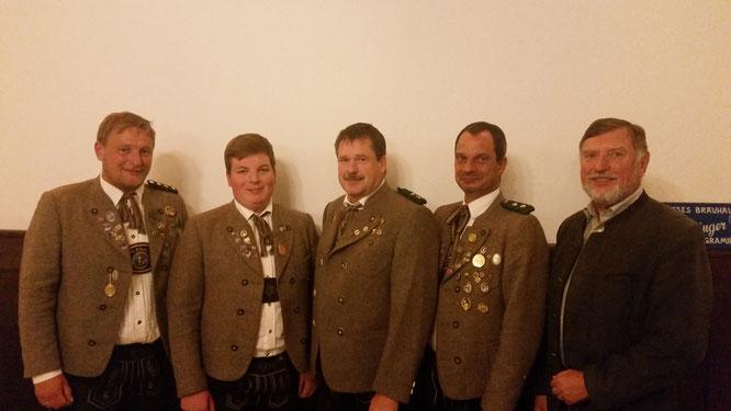 Schützenmeister Max Weindl, Julian Schwägerl, Thomas Weißgerber, Markus Funke, 2. Bürgermeister Wolfgang Sellner