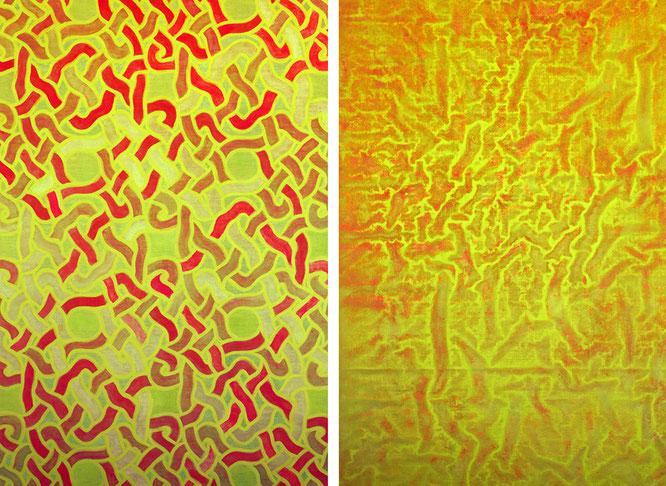 Entre-lacs, diptyque, 2019, acrylique sur toile 320 x 220 cm.