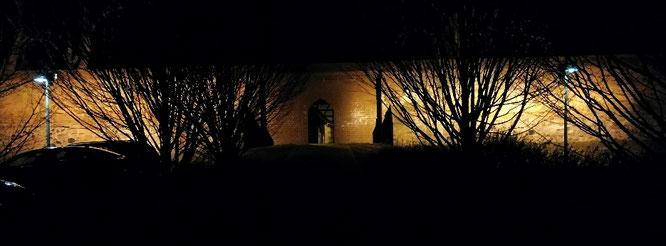 Stadtmauer Angermünde bei Nacht
