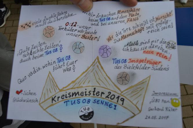 Die Glückwunschkarte des Ü-80 Ehrenmitgliedes und Fan des Waldbadexpress, Gerhard Rüter!
