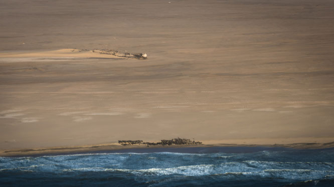 Bird`s eye view scenic flight shipwreck at the Atlantic Ocean and the Namib Desert, Namibia
