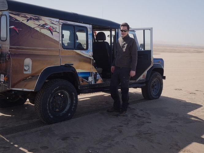 Unser etwas betagter Land Rover Defender - es sollte jedoch niemals unterschätzt werden, was diese Fahrzeuge mit dem richtigen Fahrer zu leisten im Stande sind.
