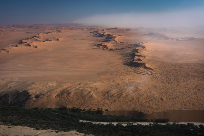 Sand storm in the area of the Kuiseb riverbed,  scenic flight - Namib Desert Namibia near Gobabeb research station