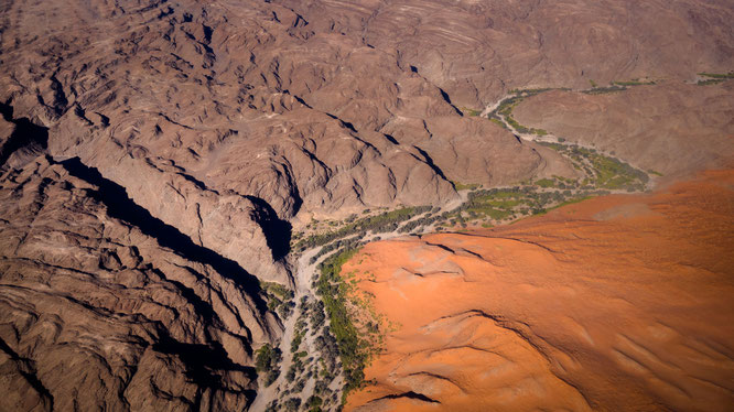 Bird`s eye view, scenic flight - Kuiseb riverbed Namib Desert Namibia