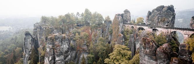 basted bridge elbe sandstone mountains saxony germany