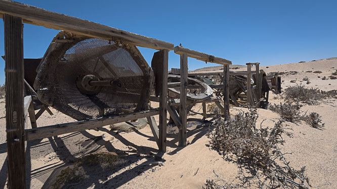 Manual centrifuge in the old mine of Pomona, diamant restricted area Namibia