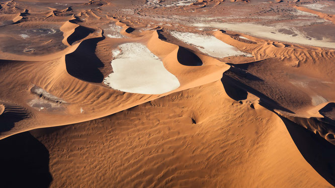 Famous bird`s eye view Dead Vlei and Sossusvlei, scenic flight - Namib Desert Namibia