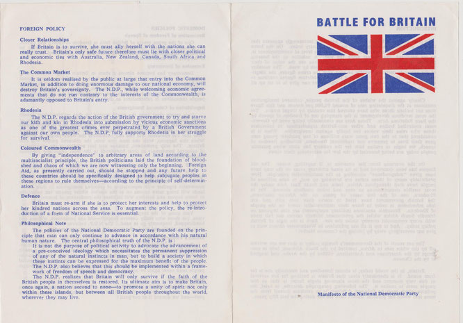 Political manifesto of the National Democratic Party. Britain 1969