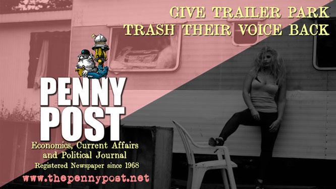 blond trailer park trash girl in front of a caravan